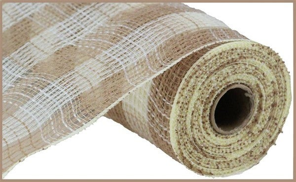 "10.5""X10yd Faux Jute/Pp Small Check Natural/Cream"