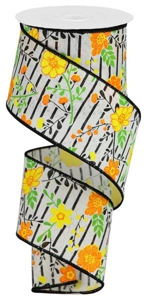 """2.5""""X10yd Floral Lines On Royal Ivory/Orange/Yellow"""