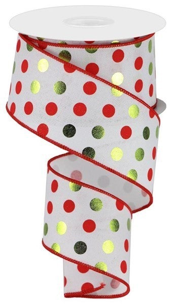 "2.5""X10yd Metallic Dots On Royal White/Lime/Red"