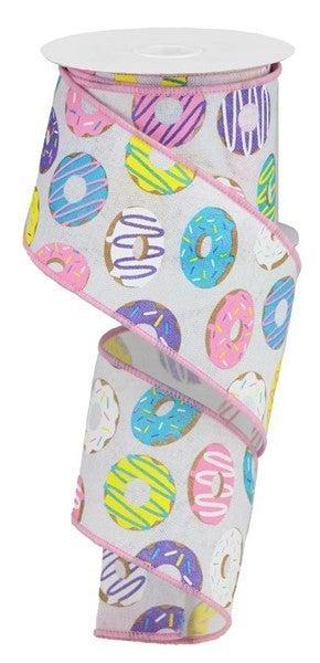 "2.5""X10yd Donut Ribbon On Royal Color: Wht/Brn/Blue/Prpl/Pnk/Ylw"