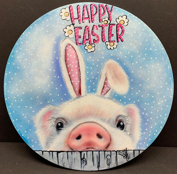 Pig Easter Sign by Iveth Wright (printed on wood)