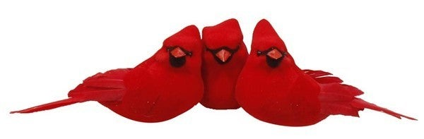 "3 Asst 4.5"" Velvet/Feather Cardinal/Clip 12/Box"