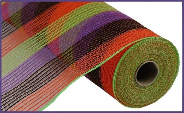 "10.5""X10yd Pp/Faux Jute Small Stripe Color: Org/Blk/Fresh Grn/Prpl"