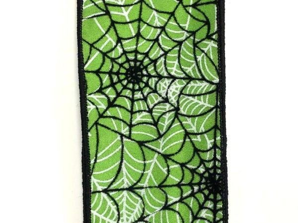 """lime satin/black flocked spiderwebs 2.5""""x10y"""