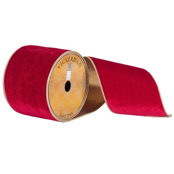 """4"""" x 10yd Deep Red Plush Velvet Gold"""