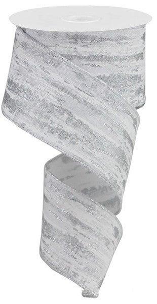 """2.5""""X10yd Glitter/Metallic Streaks White/Silver"""