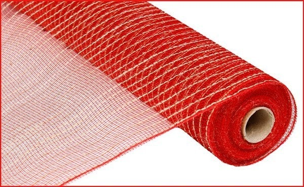 """21""""X10yd Poly/Jute Mesh Red/Natural"""