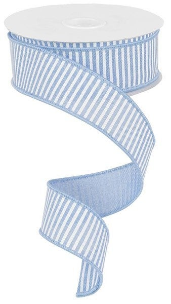 "1.5""X10yd Horizontal Stripes/Royal Pale Blue/white"