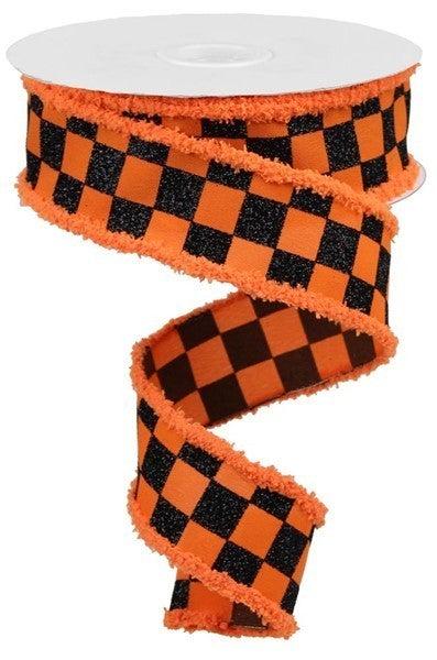 "1.5""X10yd Glitter Check/Drift Orange/Black"