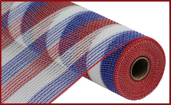 "10.5""X10YD PP/FAUX JUTE SMALL STRIPE Color: Red/White/Blue"