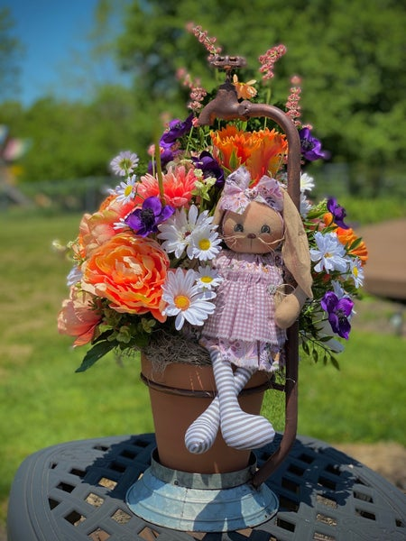 Bunny Water Faucet Floral Arrangement