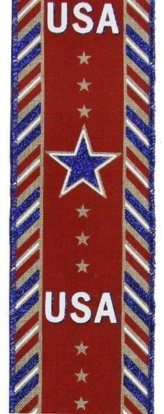 "2.5""X10yd Usa/Diagonal Border On Royal Lt Beige/White/Red/Blue"