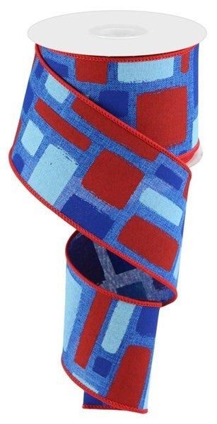 "2.5""X10yd Bold Brush Strokes/Royal Color: Royal/Red/Lt Blue/Blue"