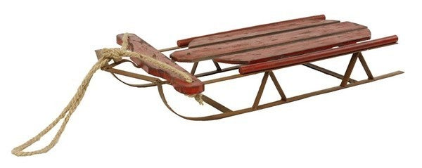 "24""L X 15""W Antique Wood/Metal Sled Antique Red/Rust"