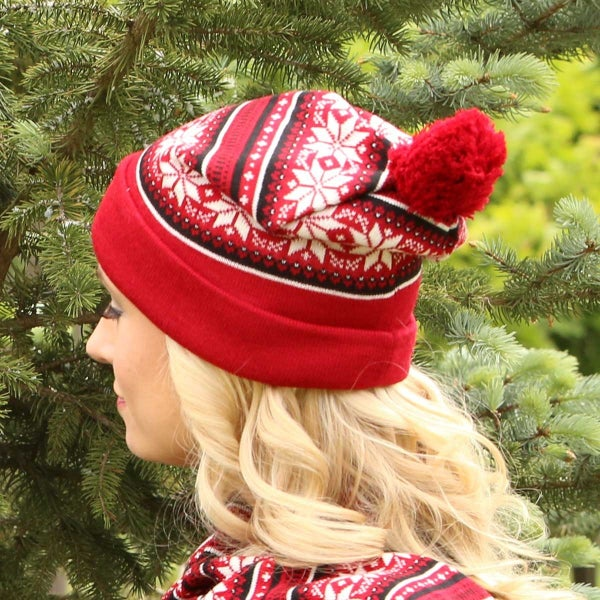 Red Petite Snowflake Knit Hat