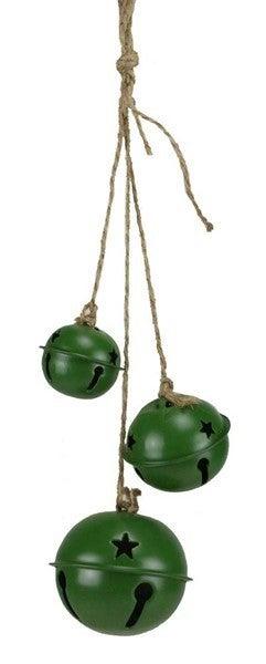 "18""L Jingle Bell Cluster Ornament Matte Emerald"