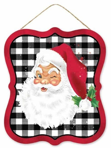"7""Lx6""H Vintage Santa Tin Sign"
