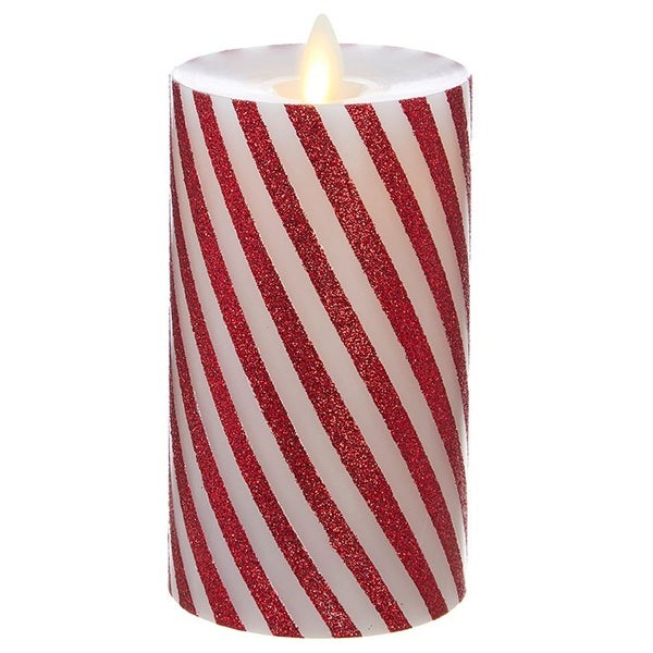 "3""X6"" Moving Flame Red and White Striped Pillar"