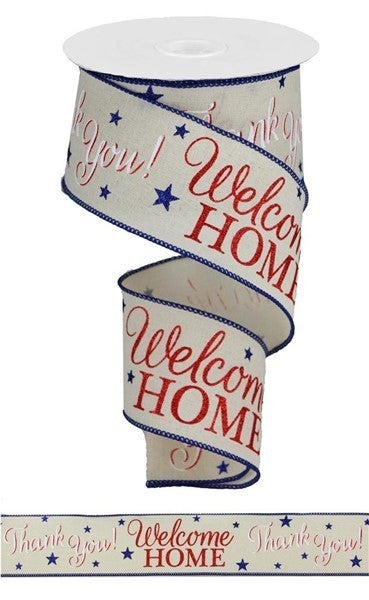 "2.5""X10yd Patriotic Welcome Home Cream/White/Red/Blue"