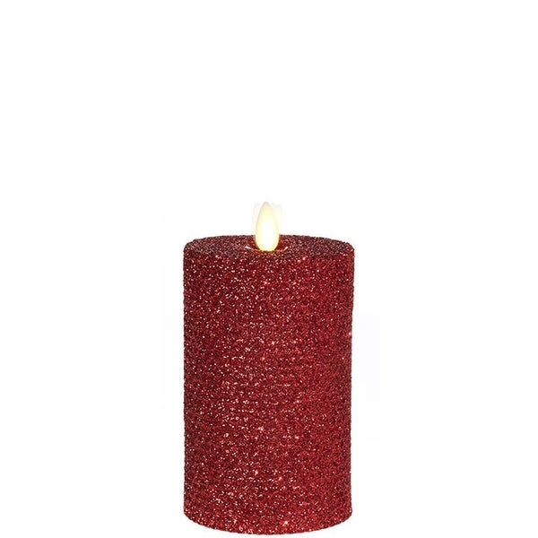 "3.25""X6"" Moving Flame Red Glittered Honeycomb Pill"