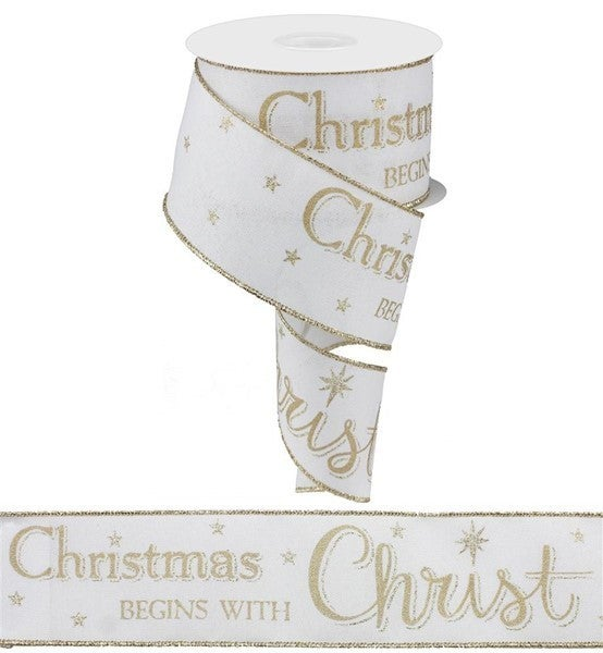 """2.5""""X10yd Christmas Begins With Christ White/Gold"""