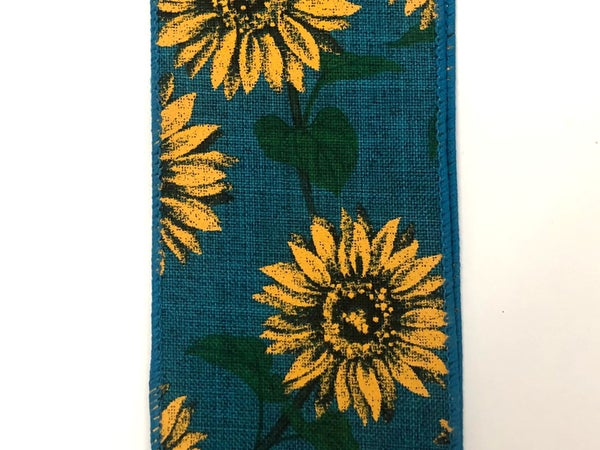 "Teal Linen/Fall Sunflowers 2.5""x10yd"