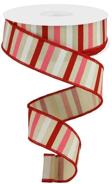 """1.5""""X10yd Horizontal Stripe On Royal Color: Cream/Red/Pink/White"""