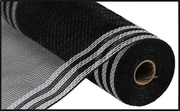 "10.5""X10yd Faux Jute/Pp/Border Stripe Color: Black/White"