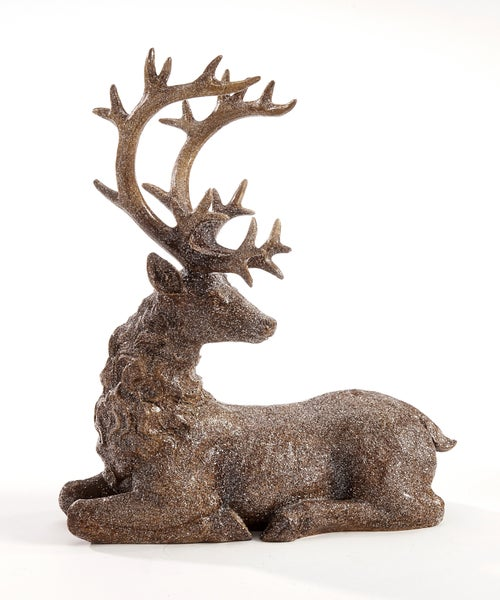 GLITTERED DEER FIGURINE