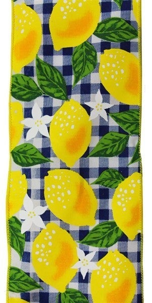 "4""X10yd Lemon W/Check Color: White/Yellow/Navy Blue"