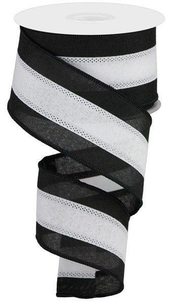 "2.5""X10yd 3 Color 3 In 1 Royal Burlap Black/White"