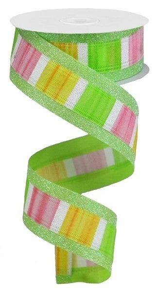 """1.5""""X10yd 3-In-1 Watercolor/Glitter Color: Yellow/Pink/Green/White"""