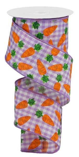 "2.5""X10yd Carrots On Gingham Check Color: Lav/White/Orange/Green"