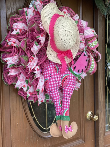 Watermelon girl wreath