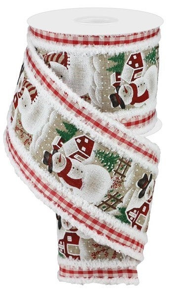 """4""""X10yd 2-In-1 Snowman/Gingham/Drift Color: Beige/Red/White/Grn/Blk"""