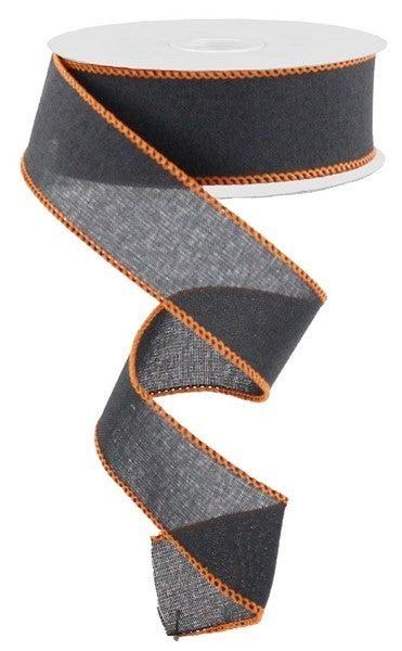 """1.5""""X10yd Royal Burlap W/Stitch Edge Black/Orange"""