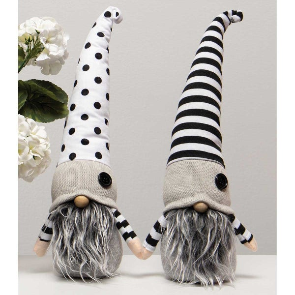 BJORN BOYS GNOME WITH BLACK/WHITE HAT, WOOD NOSE, GREY/WHITE