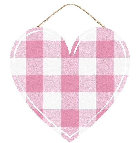 "12""L X 11.5""H Plaid Heart Pink"