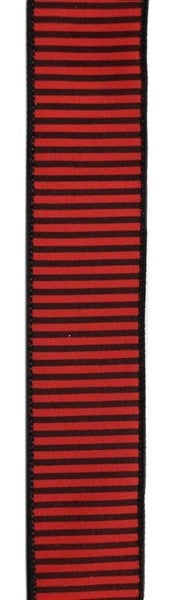 "1.5""X10yd Horizontal Thin Stripes On Pg Red/Black"