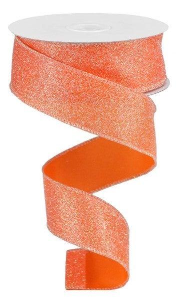 """1.5""""X10yd Iridescent Glitter On Satin Orange/Iridescent"""