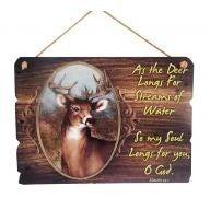 """12 X .25 X 8.5 """" Deer Psalms Plaque"""