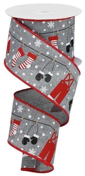 "2.5""x10yd Christmas Clothesline Ribbon Grey/Red"