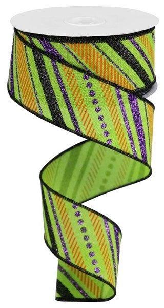 "1.5""X10yd Multi Diagonal Stripes/Royal Color: Lime/Purple/Black/Orange"