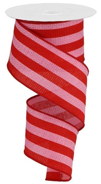 "2.5""X10yd Vertical Stripe On Cross Royal Pink/Red"