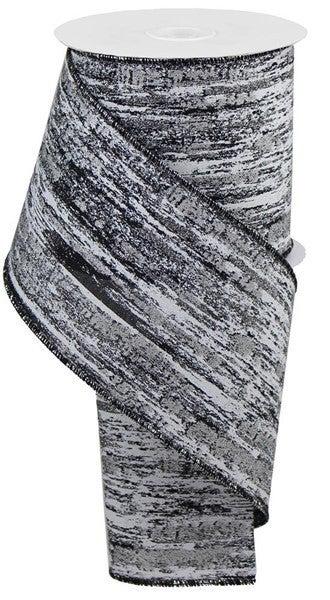 "4""X10yd Glitter/Metallic Streaks Color: Black/White/Silver"
