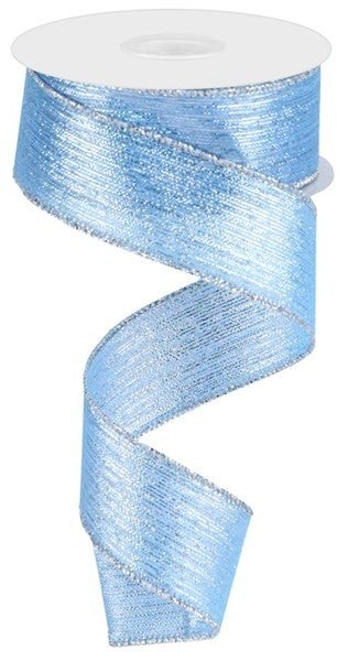 "1.5""X10yd Vertical Metallic Stripe Ice Blue"