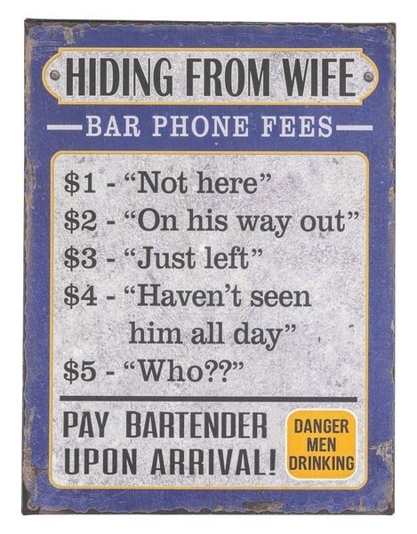 Bar Phone Reply Fee Sign