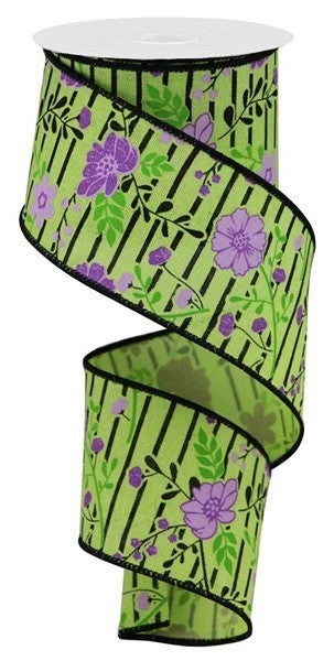 """2.5""""X10yd Floral Lines On Royal  Bright Green/Lavender"""