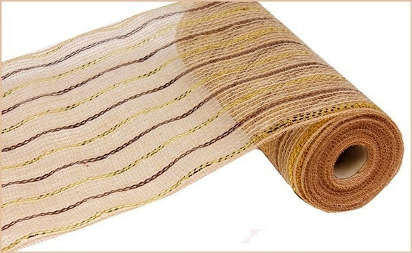 "10.5""X10yd Poly/Jute/Metallic Mesh Color: Chocolate/Gold/Natural"