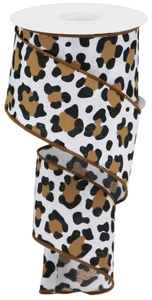 "2.5""X10YD LEOPARD PRINT/FAUX RYL Color: White/Black/Brown"